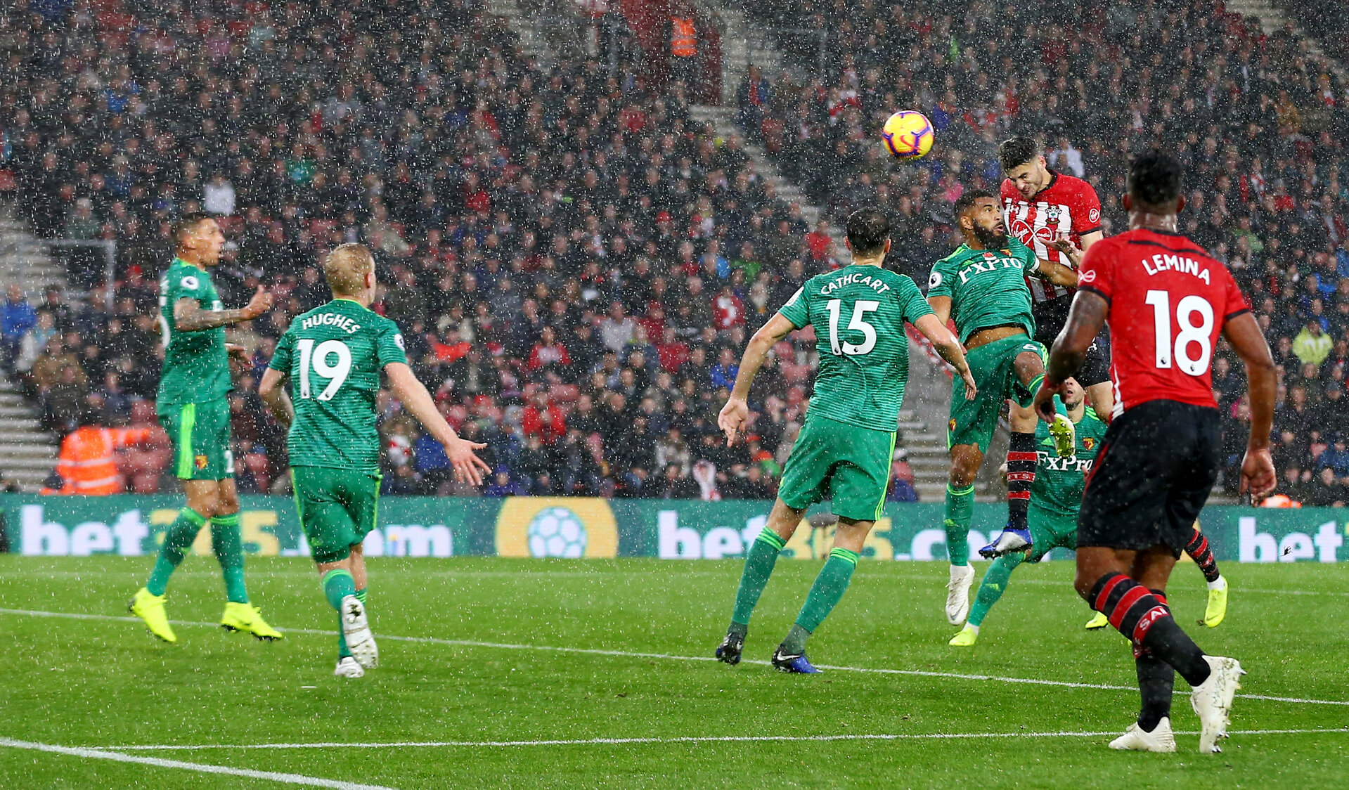 SOUTHAMPTON, ENGLAND - NOVEMBER 10: Wesley Hoedt of Southampton heads at goal during the Premier League match between Southampton FC and Watford FC at St Mary's Stadium on November 10, 2018 in Southampton, United Kingdom. (Photo by Matt Watson/Southampton FC via Getty Images)