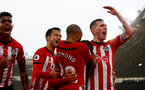 SOUTHAMPTON, ENGLAND - NOVEMBER 10: L to R Mario Lemina, Maya Yoshida, Nathan Redmond and Pierre-Emile Hojbjerg of Southampton celebrate after Manolo Gabbiadini scores during the Premier League match between Southampton FC and Watford FC at St Mary's Stadium on November 10, 2018 in Southampton, United Kingdom. (Photo by Matt Watson/Southampton FC via Getty Images)