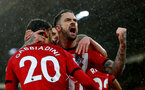 SOUTHAMPTON, ENGLAND - NOVEMBER 10: Danny Ings of Southampton celebrates after his team mate Manolo Gabbiadini scores during the Premier League match between Southampton FC and Watford FC at St Mary's Stadium on November 10, 2018 in Southampton, United Kingdom. (Photo by Matt Watson/Southampton FC via Getty Images)