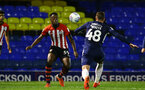 SOUTHEND, ENGLAND - NOVEMBER 14: Jonathan Afolabi (left) of Southampton FC during the Checkatrade Trophy match between Southend United and Southampton FC U21s pictured at Roots Hall on November 14, 2018 in Southend, England. (Photo by James Bridle - Southampton FC/Southampton FC via Getty Images)