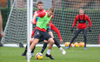 SOUTHAMPTON, ENGLAND - NOVEMBER 15: Jack Stephens puts James Ward-Prowse under pressure during a Southampton FC training session at the Staplewood Campus on November 15, 2018 in Southampton, England. (Photo by Matt Watson/Southampton FC via Getty Images)