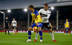 LONDON, ENGLAND - NOVEMBER 24: Manolo Gabbiadini(L) of Southampton under pressure from Maxime Le Marchand during the Premier League match between Fulham FC and Southampton FC at Craven Cottage on November 24, 2018 in London, United Kingdom. (Photo by Matt Watson/Southampton FC via Getty Images)