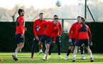 SOUTHAMPTON, ENGLAND - NOVEMBER 26: LtoR Manolo Gabbiadini, Cedric, Steven Davis during a first team training session at Staplewood Complex on November 26, 2018 in Southampton, England. (Photo by James Bridle - Southampton FC/Southampton FC via Getty Images)