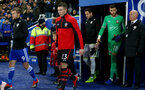 LEICESTER, ENGLAND - NOVEMBER 27: Pierre-Emile Hojbjerg leads the team out with the matchday mascot of Southampton during the Carabao Cup Fourth Round match between Leicester City and Southampton at The King Power Stadium on November 27th, 2018 in Leicester, England. (Photo by Matt Watson/Southampton FC via Getty Images)