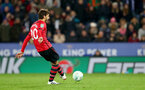 LEICESTER, ENGLAND - NOVEMBER 27: Manolo Gabbiadini of Southampton misses his penalty during the Carabao Cup Fourth Round match between Leicester City and Southampton at The King Power Stadium on November 27th, 2018 in Leicester, England. (Photo by Matt Watson/Southampton FC via Getty Images)