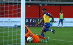 NOTTINGHAM, ENGLAND - NOVEMBER 28: Marcus Barnes of Southampton FC scores but goal is disallowed during the Cup match between Notts County and Southampton at IIklestone Town FC on November 28, 2018 in Nottingham, England. (Photo by James Bridle - Southampton FC/Southampton FC via Getty Images)