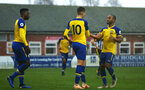 NOTTINGHAM, ENGLAND - NOVEMBER 28: Will Smallbone scores (middle) and celebrates with Tyreke Johnson (right) during the Cup match between Notts County and Southampton at IIklestone Town FC on November 28, 2018 in Nottingham, England. (Photo by James Bridle - Southampton FC/Southampton FC via Getty Images)