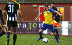 NOTTINGHAM, ENGLAND - NOVEMBER 28: Jake Vokins (right) during the Cup match between Notts County and Southampton at IIklestone Town FC on November 28, 2018 in Nottingham, England. (Photo by James Bridle - Southampton FC/Southampton FC via Getty Images)