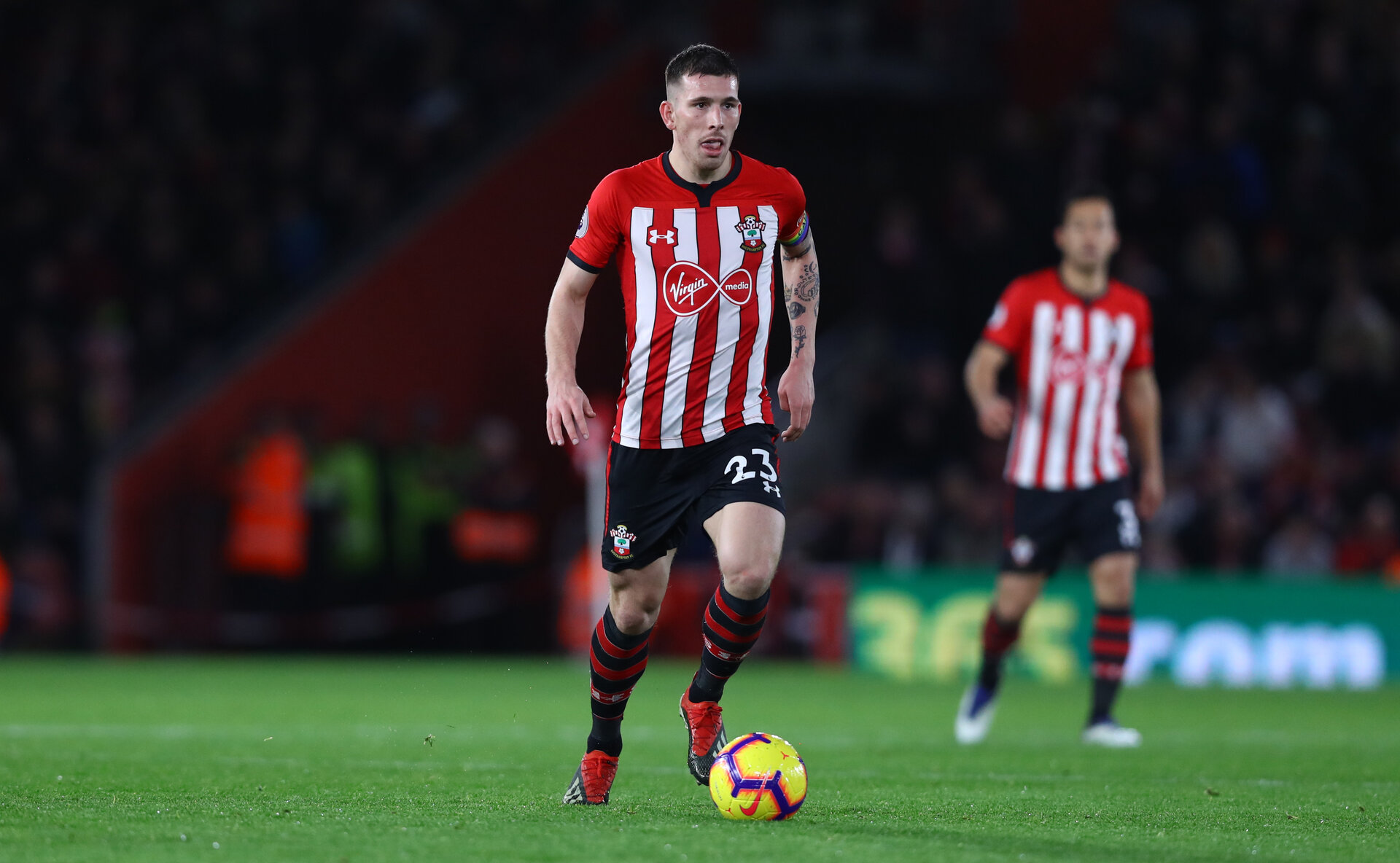 SOUTHAMPTON, ENGLAND - DECEMBER 01: Pierre-Emile Hojbjerg of Southampton during the Premier League match between Southampton FC and Manchester United at St Mary's Stadium on December 1, 2018 in Southampton, United Kingdom. (Photo by Matt Watson/Southampton FC via Getty Images)