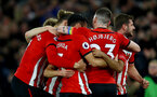 SOUTHAMPTON, ENGLAND - DECEMBER 01: players of Southampton celebrate after Cedric scores during the Premier League match between Southampton FC and Manchester United at St Mary's Stadium on December 1, 2018 in Southampton, United Kingdom. (Photo by Matt Watson/Southampton FC via Getty Images)