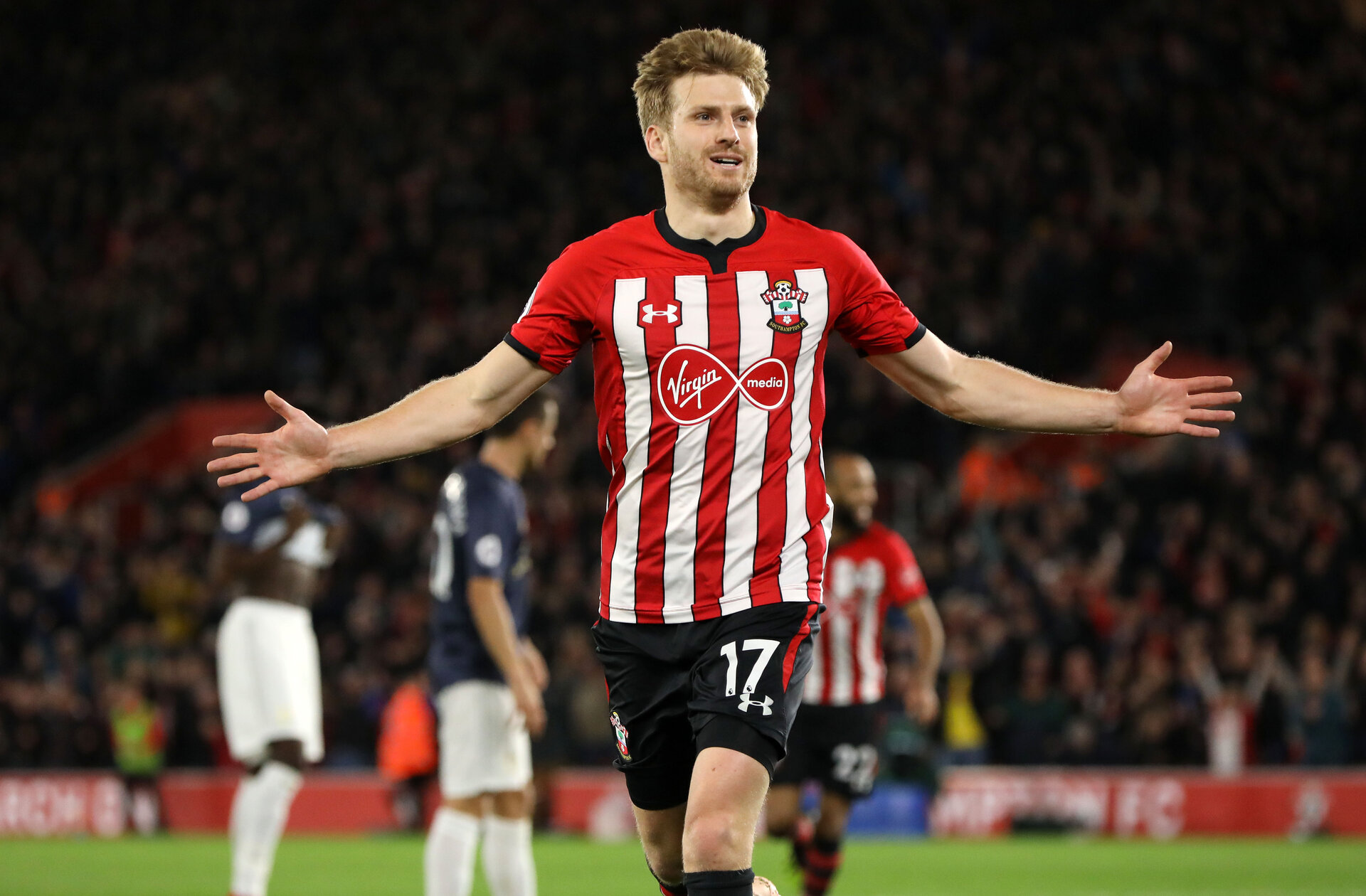 SOUTHAMPTON, ENGLAND - DECEMBER 01: Stuart Armstrong of Southampton celebrates his goal during the Premier League match between Southampton FC and Manchester United at St Mary's Stadium on December 1, 2018 in Southampton, United Kingdom. (Photo by Chris Moorhouse/Southampton FC via Getty Images)