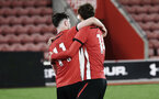 SOUTHAMPTON, ENGLAND - NOVEMBER 04: Will Ferry (left) scores and celebrates with Dan Bartlet during the U18's FA Youth Cup match between Southampton FC and Rotherham United pictured at St Mary's Stadium on December 4, 2018 in Southampton, England. (Photo by James Bridle - Southampton FC/Southampton FC via Getty Images)