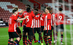 SOUTHAMPTON, ENGLAND - NOVEMBER 04: Will Ferry (left) scores and celebrate with the team during the U18's FA Youth Cup match between Southampton FC and Rotherham United pictured at St Mary's Stadium on December 4, 2018 in Southampton, England. (Photo by James Bridle - Southampton FC/Southampton FC via Getty Images)