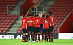SOUTHAMPTON, ENGLAND - NOVEMBER 04: U18s huddles head of Kick off for the U18's FA Youth Cup match between Southampton FC and Rotherham United pictured at St Mary's Stadium on December 4, 2018 in Southampton, England. (Photo by James Bridle - Southampton FC/Southampton FC via Getty Images)