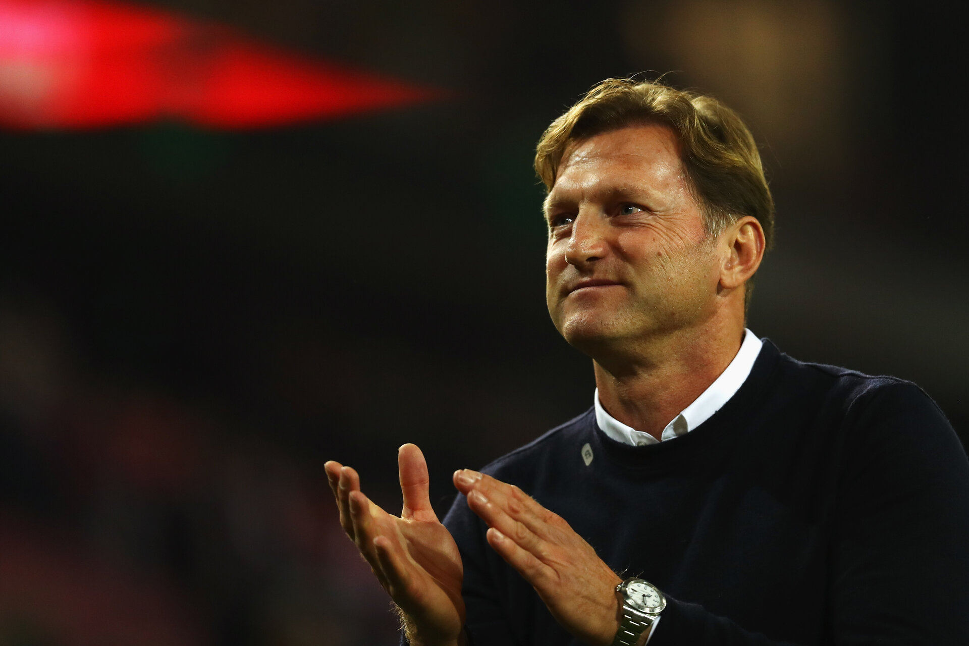 COLOGNE, GERMANY - OCTOBER 01:  RB Leipzig Head Coach / Manager, Ralph Hasenhuttl celebrates after victory in the Bundesliga match between 1. FC Koeln and RB Leipzig at RheinEnergieStadion on October 1, 2017 in Cologne, Germany.  (Photo by Dean Mouhtaropoulos/Bongarts/Getty Images)