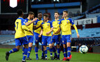 BIRMINGHAM, ENGLAND - DECEMBER 07: Will Smallbone scores and celebrates with the team (right) during the match between Aston Villa FC and Southampton FC pictured at Villa Park Stadium  on December 7, 2018 in Birmingham, England. (Photo by James Bridle - Southampton FC/Southampton FC via Getty Images)