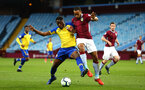 BIRMINGHAM, ENGLAND - DECEMBER 07: Jonathan Afolabi (left) during the match between Aston Villa FC and Southampton FC pictured at Villa Park Stadium  on December 7, 2018 in Birmingham, England. (Photo by James Bridle - Southampton FC/Southampton FC via Getty Images)