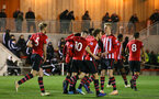 SOUTHAMPTON, ENGLAND - DECEMBER 14: Will Smallbone scores and celebrates with the team during the U23s PL2 match between Southampton FC and Newcastle United pictured at Staplewood Training Ground on December 14, 2018 in Southampton England. (Photo by James Bridle - Southampton FC/Southampton FC via Getty Images)