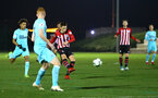 SOUTHAMPTON, ENGLAND - DECEMBER 14: Will Smallbone strikes the ball resulting in the ball hitting the cross bar (middle) during the U23s PL2 match between Southampton FC and Newcastle United pictured at Staplewood Training Ground on December 14, 2018 in Southampton England. (Photo by James Bridle - Southampton FC/Southampton FC via Getty Images)