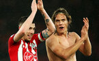 SOUTHAMPTON, ENGLAND - DECEMBER 16: Pierre-Emile Hojbjerg, left, and Yannik Vestergaard during the Premier League match between Southampton FC and Arsenal FC at St Mary's Stadium on December 15, 2018 in Southampton, United Kingdom. (Photo by Chris Moorhouse/Southampton FC via Getty Images)