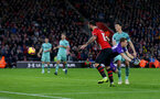 SOUTHAMPTON, ENGLAND - DECEMBER 16: Charlie Austin of Southampton scores his teams third goal during the Premier League match between Southampton FC and Arsenal FC at St Mary's Stadium on December 15, 2018 in Southampton, United Kingdom. (Photo by Matt Watson/Southampton FC via Getty Images)