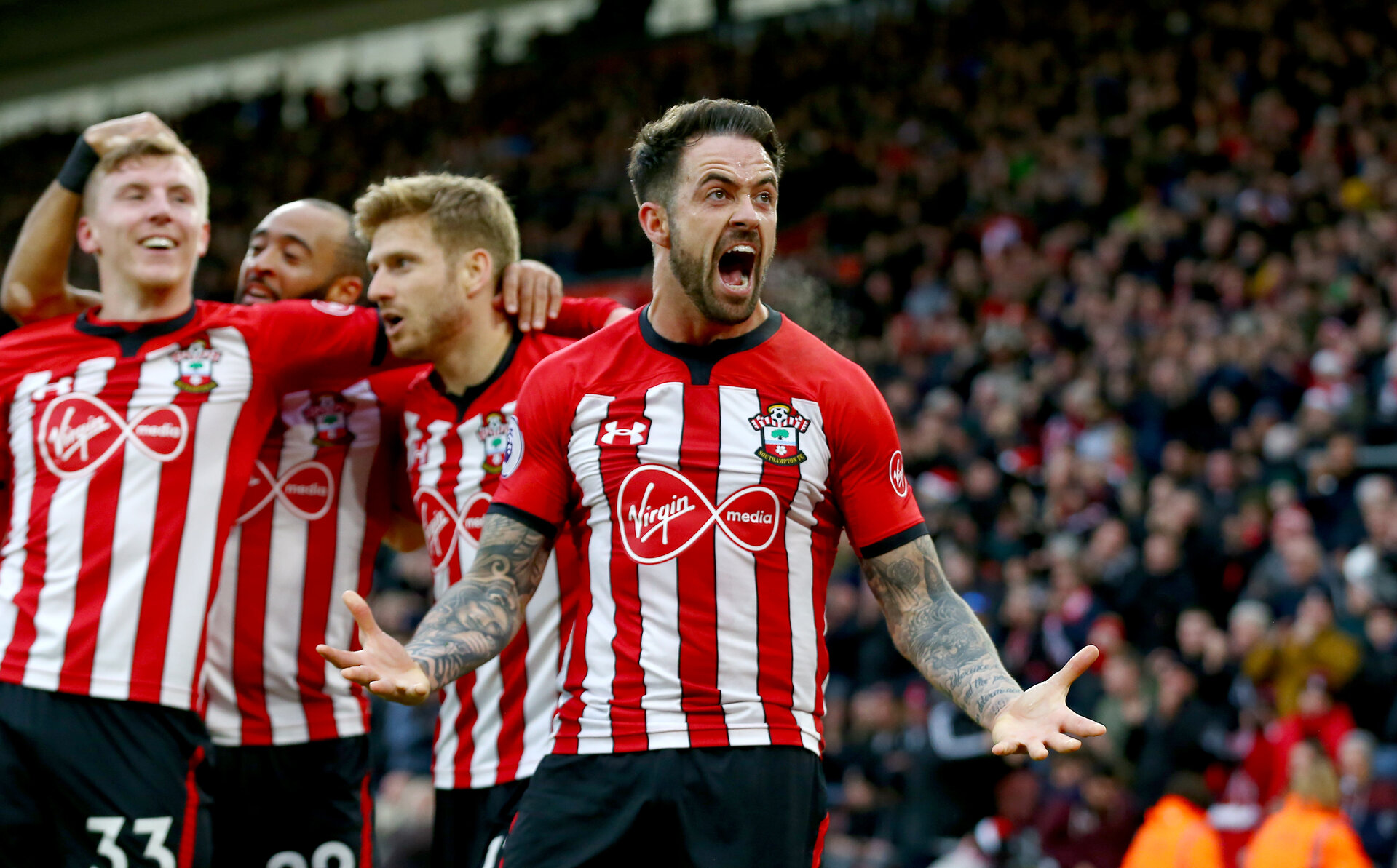 SOUTHAMPTON, ENGLAND - DECEMBER 16: Danny Ings of Southampton during the Premier League match between Southampton FC and Arsenal FC at St Mary's Stadium on December 15, 2018 in Southampton, United Kingdom. (Photo by Matt Watson/Southampton FC via Getty Images)