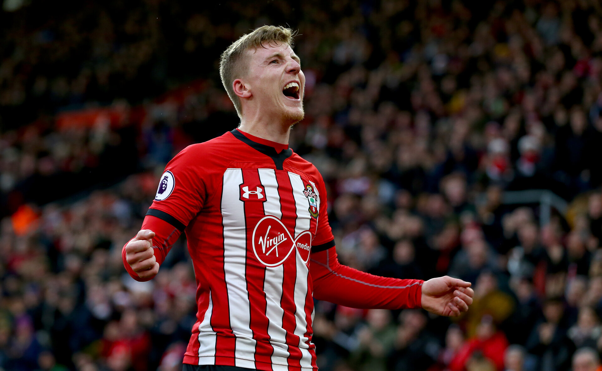 SOUTHAMPTON, ENGLAND - DECEMBER 16: Matt Targett of Southampton during the Premier League match between Southampton FC and Arsenal FC at St Mary's Stadium on December 15, 2018 in Southampton, United Kingdom. (Photo by Matt Watson/Southampton FC via Getty Images)