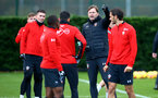 SOUTHAMPTON, ENGLAND - DECEMBER 19: Ralph Hasenhuttl (middle) during a Southampton FC training session at Staplewood Complex on December 19, 2018 in Southampton, England. (Photo by James Bridle - Southampton FC/Southampton FC via Getty Images)