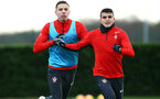 SOUTHAMPTON, ENGLAND - DECEMBER 19: LtoR Jan Bednarek, Mohamed Elyounoussi during a training session at Staplewood Complex on December 19, 2018 in Southampton, England. (Photo by James Bridle - Southampton FC/Southampton FC via Getty Images)