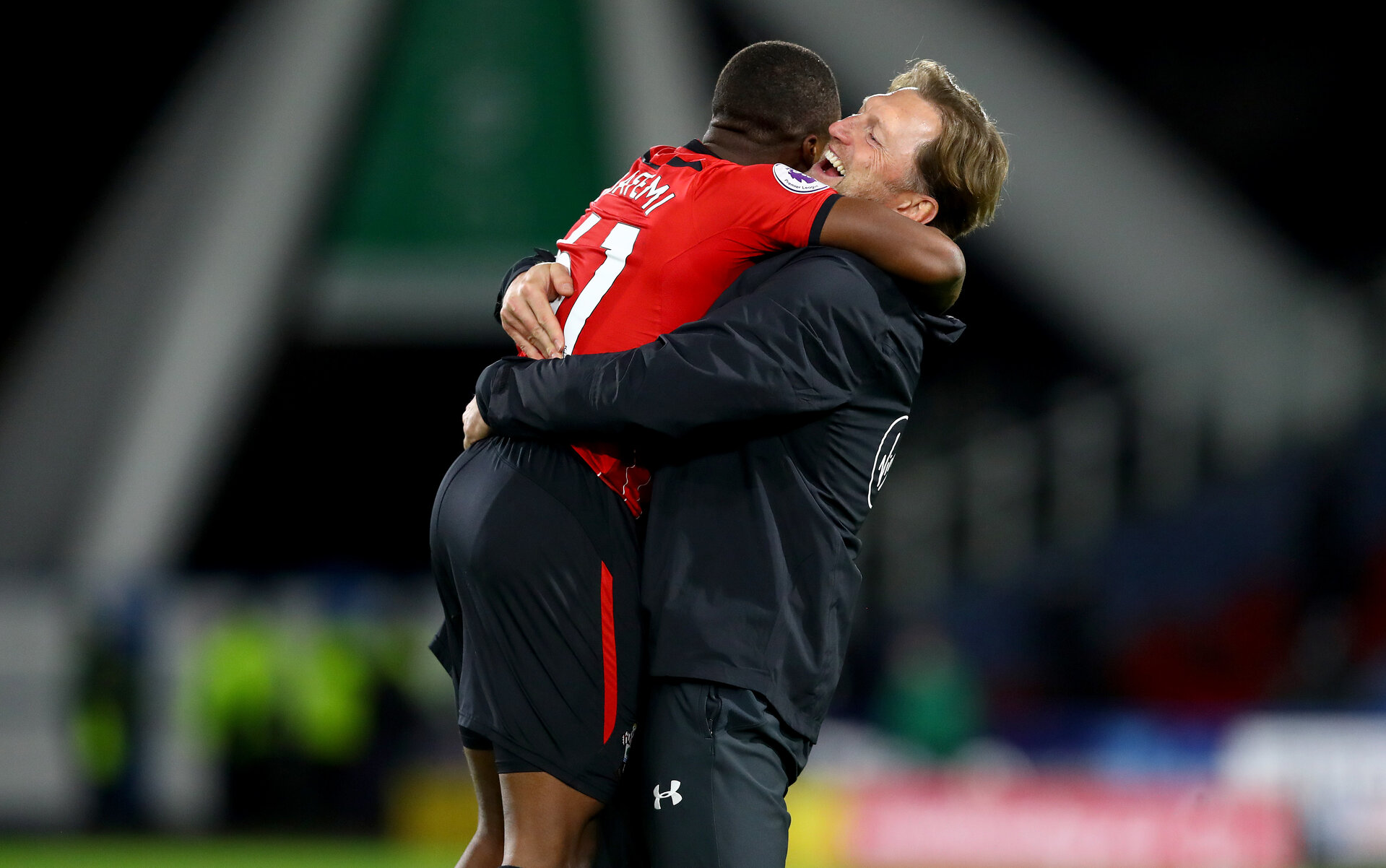 HUDDERSFIELD, ENGLAND - DECEMBER 22:  Michael Obafemi(L) and Ralph Hasenhuttl of Southampton during the Premier League match between Huddersfield Town and Southampton FC at John Smith's Stadium on December 22, 2018 in Huddersfield, United Kingdom. (Photo by Matt Watson/Southampton FC via Getty Images)