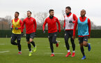 SOUTHAMPTON, ENGLAND - DECEMBER 25: L to R Mario Lemina, Cedric Soares, Shane Long, Pierre-Emile Hojbjerg and Tyreke Johnson during a Southampton FC training session at the Staplewood Campus on December 25, 2018 in Southampton, England. (Photo by Matt Watson/Southampton FC via Getty Images)