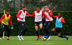 SOUTHAMPTON, ENGLAND - DECEMBER 25: L to R Mario Lemina, Jack Stephens, Yan Valery, Matt Targett and Tyreke Johnson during a Southampton FC training session at the Staplewood Campus on December 25, 2018 in Southampton, England. (Photo by Matt Watson/Southampton FC via Getty Images)
