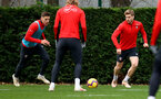 SOUTHAMPTON, ENGLAND - DECEMBER 25: Jan Bednarek(L) and Stuart Armstrong during a Southampton FC training session at the Staplewood Campus on December 25, 2018 in Southampton, England. (Photo by Matt Watson/Southampton FC via Getty Images)