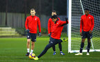 SOUTHAMPTON, ENGLAND - DECEMBER 28:  Mohamed Elyounoussi (middle) during a Southampton FC training session at Staplewood Training Ground on December 28, 2018 in Southampton, United Kingdom. (Photo by James Bridle - Southampton FC/Southampton FC via Getty Images)
