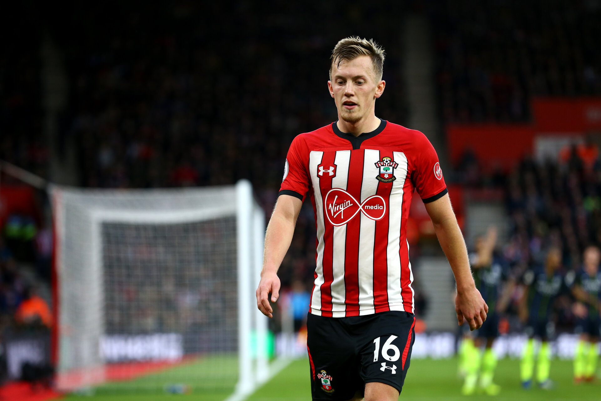 SOUTHAMPTON, ENGLAND - DECEMBER 30: James Ward-Prowse of Southampton FC walking to the corner post during the Premier League match between Southampton FC and Manchester City at St Mary's Stadium on December 30, 2018 in Southampton, United Kingdom. (Photo by James Bridle - Southampton FC/Southampton FC via Getty Images)