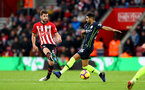 SOUTHAMPTON, ENGLAND - DECEMBER 30:  Jack Stephens(L) of Southampton and Riyad Mahrez of Manchester City during the Premier League match between Southampton FC and Manchester City at St Mary's Stadium on December 30, 2018 in Southampton, United Kingdom. (Photo by Matt Watson/Southampton FC via Getty Images)