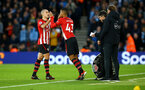 SOUTHAMPTON, ENGLAND - DECEMBER 30: Oriol Romeu (left) is substituted for Yan Valery (middle) during the Premier League match between Southampton FC and Manchester City at St Mary's Stadium on December 30, 2018 in Southampton, United Kingdom. (Photo by James Bridle - Southampton FC/Southampton FC via Getty Images)