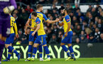 DERBY, ENGLAND - JANUARY 05: Nathan Redmond(R) of Southampton celebrates with team mates after opening the scoring during the FA Cup Third Round match between Derby County and Southampton FC at Pride Park on January 05, 2019 in Derby, United Kingdom. (Photo by Matt Watson/Southampton FC via Getty Images)