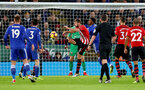 LEICESTER, ENGLAND - JANUARY 12: Jack Stephens of Southampton during the Premier League match between Leicester City and Southampton FC at The King Power Stadium on January 12, 2019 in Leicester, United Kingdom. (Photo by Matt Watson/Southampton FC via Getty Images)