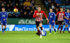 LEICESTER, ENGLAND - JANUARY 12: Sam Gallagher of during the Premier League match between Leicester City and Southampton FC at The King Power Stadium on January 12, 2019 in Leicester, United Kingdom. (Photo by Matt Watson/Southampton FC via Getty Images)