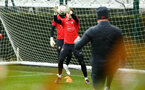 SOUTHAMPTON, ENGLAND - JANUARY 15: Harry Lewis makes a save (left) during a Southampton FC  training session at Staplewood Complex on January 15, 2019 in Southampton, England. (Photo by James Bridle - Southampton FC/Southampton FC via Getty Images)