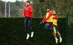 SOUTHAMPTON, ENGLAND - JANUARY 15: LtoR Sam Gallagher, Mohamed Elyounoussi, Cedric during a Southampton FC  training session at Staplewood Complex on January 15, 2019 in Southampton, England. (Photo by James Bridle - Southampton FC/Southampton FC via Getty Images)