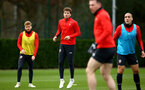 SOUTHAMPTON, ENGLAND - JANUARY 15: LtoR Stuart Armstrong, Sam Gallagher during a Southampton FC  training session at Staplewood Complex on January 15, 2019 in Southampton, England. (Photo by James Bridle - Southampton FC/Southampton FC via Getty Images)
