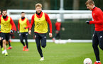 SOUTHAMPTON, ENGLAND - JANUARY 15: Stuart Armstrong (left) during a Southampton FC  training session at Staplewood Complex on January 15, 2019 in Southampton, England. (Photo by James Bridle - Southampton FC/Southampton FC via Getty Images)