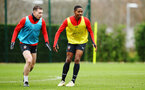 SOUTHAMPTON, ENGLAND - JANUARY 15: LtoR Pierre-Emile Hojbjerg, Kayne Ramsay during a Southampton FC  training session at Staplewood Complex on January 15, 2019 in Southampton, England. (Photo by James Bridle - Southampton FC/Southampton FC via Getty Images)