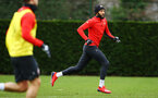 SOUTHAMPTON, ENGLAND - JANUARY 15: Nathan Redmond (middle) during a Southampton FC  training session at Staplewood Complex on January 15, 2019 in Southampton, England. (Photo by James Bridle - Southampton FC/Southampton FC via Getty Images)
