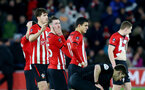 SOUTHAMPTON, ENGLAND - JANUARY 16: Dejected Southampton players during the FA Cup Third Round Replay match between Southampton FC and Derby County at St Mary's Stadium on January 16, 2019 in Southampton, United Kingdom. (Photo by Matt Watson/Southampton FC via Getty Images)