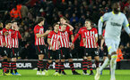 SOUTHAMPTON, ENGLAND - JANUARY 16: Saints after the penalties during the FA Cup Third Round Replay match between Southampton FC and Derby County at St Mary's Stadium on January 16, 2019 in Southampton, United Kingdom. (Photo by Chris Moorhouse Southampton FC/Southampton FC via Getty Images)