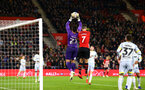 SOUTHAMPTON, ENGLAND - JANUARY 16: Shane Long of Southampton FC (right) goes up against Derby County's Kelle Roos (left) during the FA Cup Third Round Replay match between Southampton FC and Derby County at St Mary's Stadium on January 16, 2019 in Southampton, United Kingdom. (Photo by James Bridle - Southampton FC/Southampton FC via Getty Images)