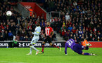 SOUTHAMPTON, ENGLAND - JANUARY 16: Nathan Redmond scores (middle) during the FA Cup Third Round Replay match between Southampton FC and Derby County at St Mary's Stadium on January 16, 2019 in Southampton, United Kingdom. (Photo by James Bridle - Southampton FC/Southampton FC via Getty Images)